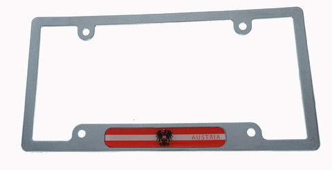 Austria Flag License Plate Frame Plastic Chrome Plated tag Holder Cover CP08