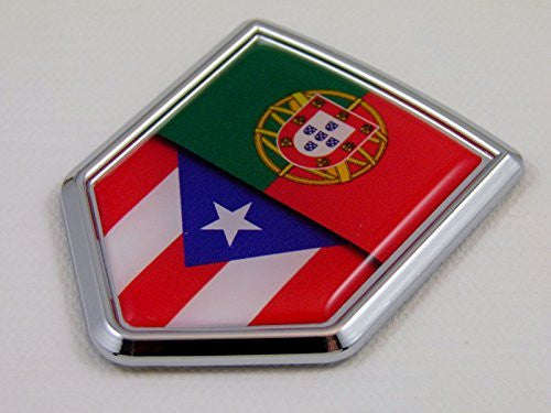 Portugal t Puerto Rico split style Flag Car Chrome Emblem Decal 3D Sticker
