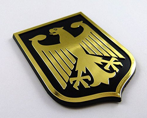 Deutschland Germany Black Gold plastic car emblem decal sticker crest GBG
