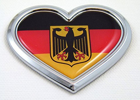Car Chrome Decals CBHRT077 Germany HEART Flag Chrome Emblem Car Decal 3D Sticker Badge Bumper Deutschland