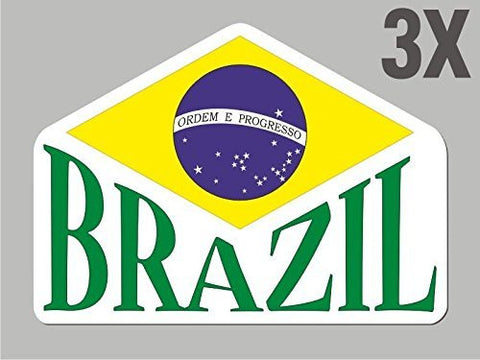 3 Brazil Brazilian shapes stickers flag decal bumper car bike emblem vinyl CN004