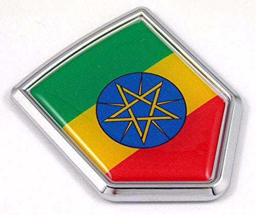 Ethiopia Ethiopian flag Chrome Emblem Car Decal Sticker Bike crest badge
