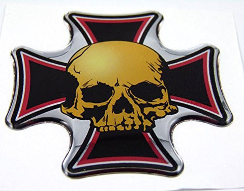Maltese cross with Skull Emblem domed decal on chrome Bike Motorcycle Car 2.5""