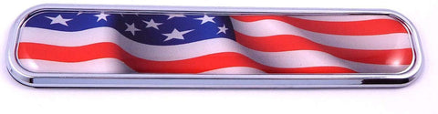 USA American Flag Chrome Emblem 3D auto Decal Sticker car Bike Boat 5.3""