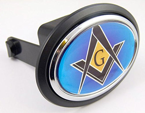 "Masonic Freemasonry Flag Hitch Cover Cap 2"" receiver black with chrome & dome"