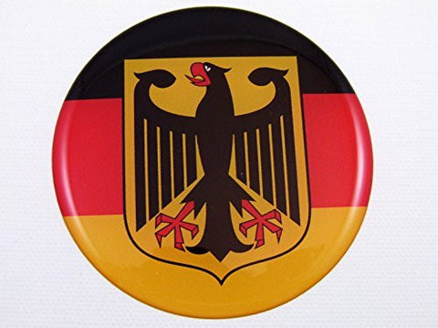"German Flag Eagle Emblem domed decal Car sticker Deutschland Germany 3"" round"
