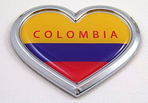 Car Chrome Decals CBHRT046 Colombia HEART Flag Chrome Emblem Car Decal 3D Sticker Badge Bumper Colombian