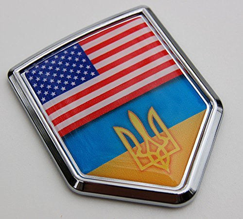Ukraine USA Flag Car Chrome Ukrainian American Emblem 3D Decal Sticker