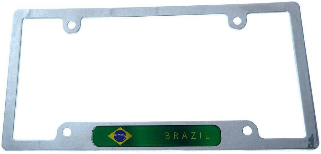 Brazil Brazilian Flag License Plate Frame Plastic Chrome Plated tag Holder CP08