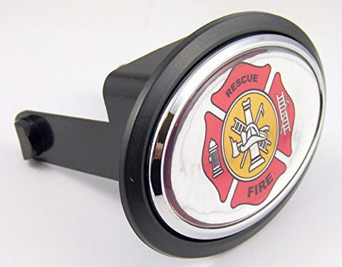 "Firefighter department Flag Hitch Cover Cap 2"" receiver black with chrome & dome"