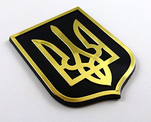 Ukraine Trident Tryzub Black Gold plastic car emblem decal sticker crest UBG