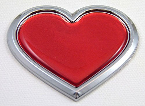Car Chrome Decals CBHRT-RED Chrome with Red HEART Chrome Emblem Car Decal 3D Sticker Badge Bumper