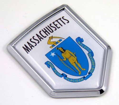 Massachusets MA USA State Flag Car Chrome Emblem Decal Sticker bike laptop boat 3dd Sticker badge