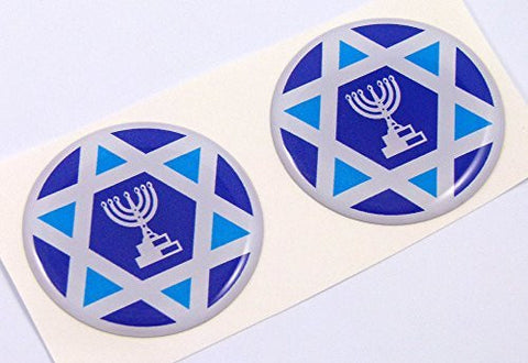 "Israel Israeli flag Round domed decal 2 emblem Car bike stickers 1.45"" PAIR"