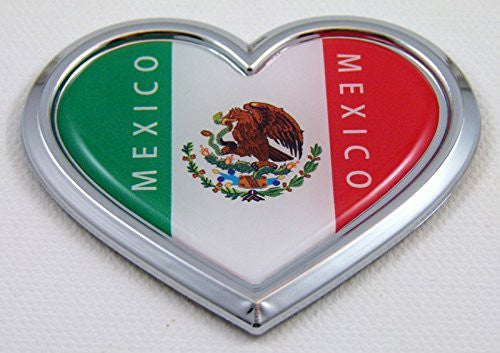Mexico HEART Flag Chrome Emblem Car Decal 3D Sticker Badge Bumper Mexican