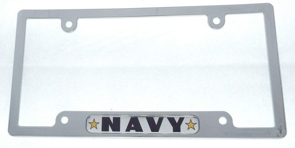 Navy Flag car License Plate Frame Chrome Plated Plastic tag Holder Cover CP08