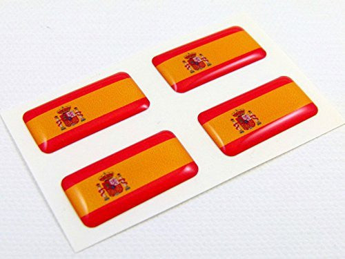 Spain spanish mini domed Flag decals 4 emblems Car auto bike boat. Stickers