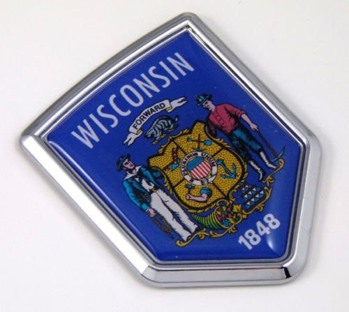 Wisconsin WI USA State Flag Car Chrome Emblem Decal Sticker bike laptop boat 3dd Sticker badge