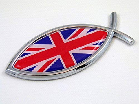 Great Britain British Jesus Fish Flag Car Chrome Emblem Decal 3D Sticker England
