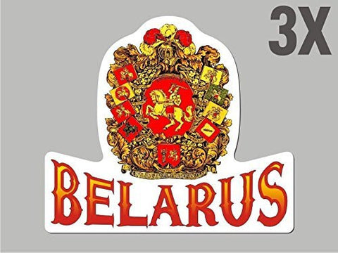 3 Belarus Belorussian shaped stickers flag crest decal car bike emblem CN043