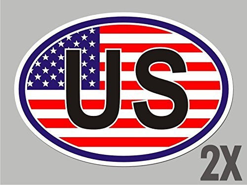 2 USA United States of America OVAL stickers flag decal bumper car bike CL069