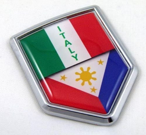 Italy Philippine Italia Flag Car Chrome Emblem Decal Sticker with adhesive