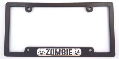 Zombie Flag Black Plastic Car License plate frame dome decal
