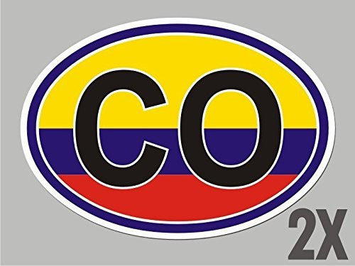2 Colombia CO OVAL stickers flag decal bumper car bike emblem vinyl CL015