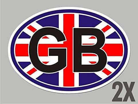 2 Great Britain United Kingdom OVAL stickers flag decal bumper car bike CL068