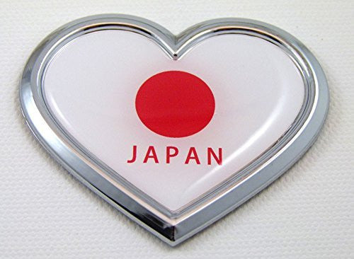Car Chrome Decals CBHRT201 Japan HEART Flag Chrome Emblem Car Decal 3D Sticker Badge Bumper Japanese