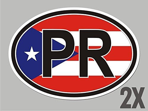 2 Puerto Rico PR OVAL stickers flag decal bumper car bike CL077