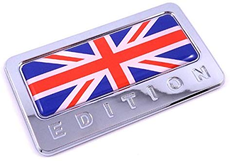 British Edition Chrome Emblem with Great Britain Flag 3D Decal Car Bike Badge