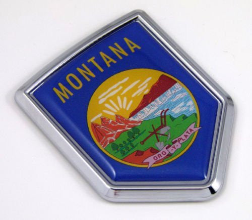 Montana MT USA State Flag Car Chrome Emblem Decal Sticker bike laptop boat 3dd Sticker badge