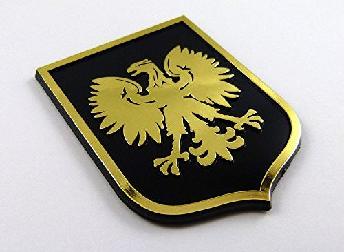 Poland Polska Eagle Black Gold plastic car emblem decal sticker crest PBG