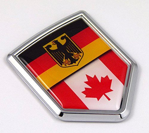Germany Canada German Canadian Flag Car Chrome Emblem Decal bike bumperSticker