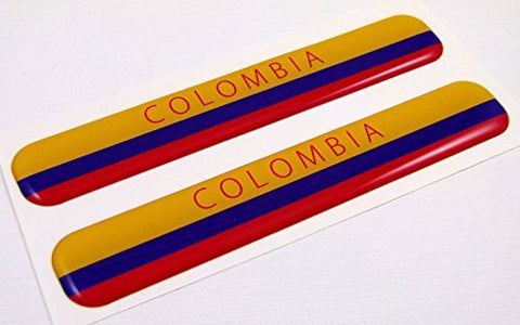 "Colombia Flag Domed Decal Emblem Resin car auto stickers 5""x 0.82"" 2pc."