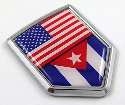 Car Chrome Decals CBSHD228-053 USA Cuba American Cuban Flag Car Chrome Emblem 3D Decal Sticker