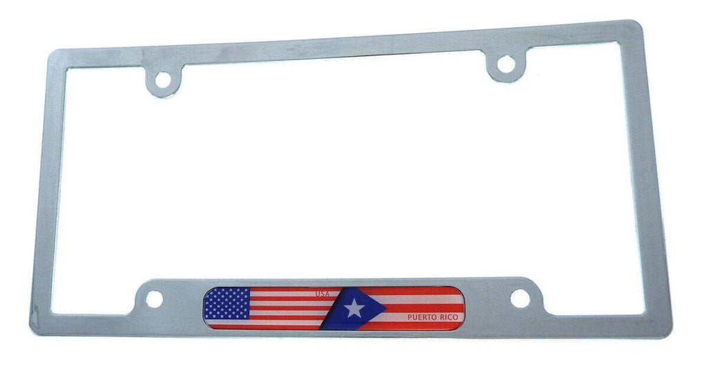 USA Puerto Rico Flag car License Plate Frame Chrome Plated Plastic Holder CP08