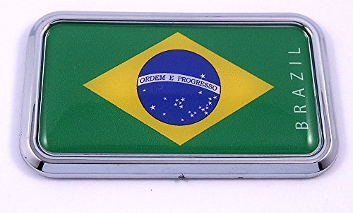 "Brazil Flag rectanguglar Chrome Emblem 3D Car Decal Sticker 3"" x 1.75"""