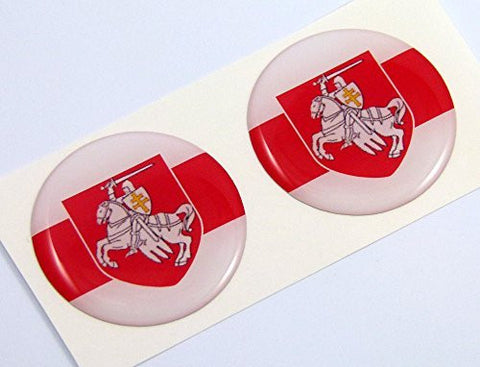 "Belarus flag Round domed decal 2 emblems. Car bike laptop stickers 1.45"" PAIR"