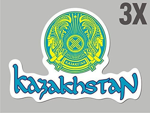 3 Kazakhstan shaped stickers flag crest decal car bike emblem CN045
