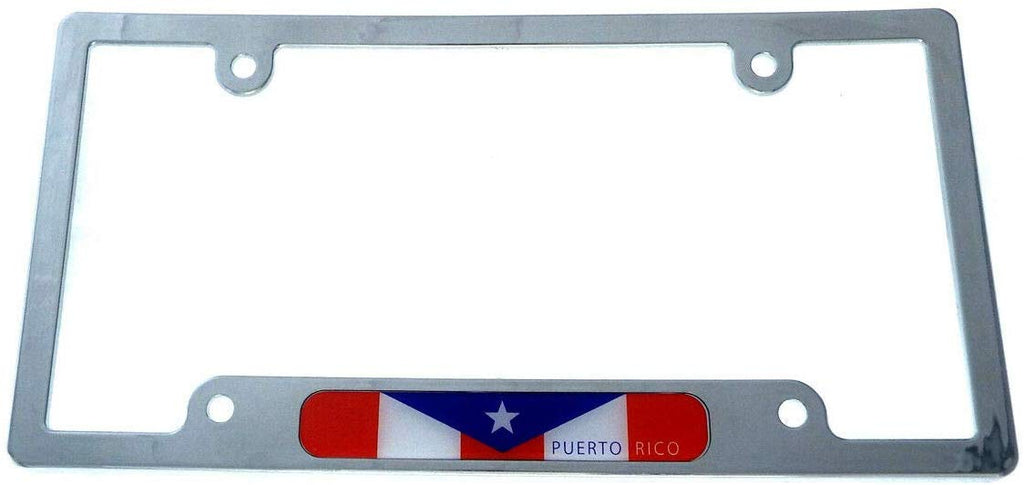 Puerto Rico Flag car License Plate Frame Chrome Plated Plastic CP08