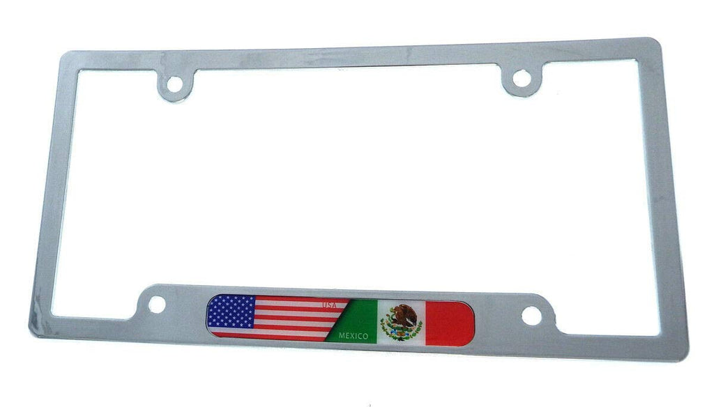 USA Mexico Flag car License Plate Frame Chrome Plated Plastic tag Holder CP08