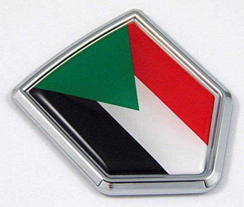 Sudan Sudanese flag Chrome Emblem with domed Car Decal Sticker Bike crest badge