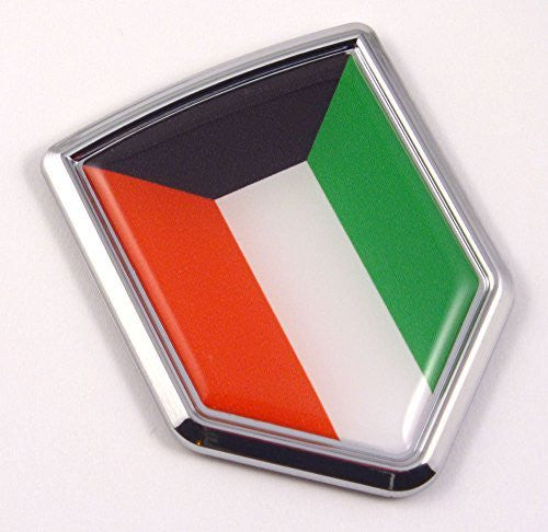 Kuwait Flag Car Chrome Emblem 3D Kuwaiti Decal Sticker