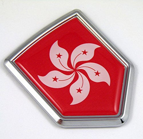 Hong Kong China Flag Car Chrome Emblem Decal 3D bumper Sticker bike Crest