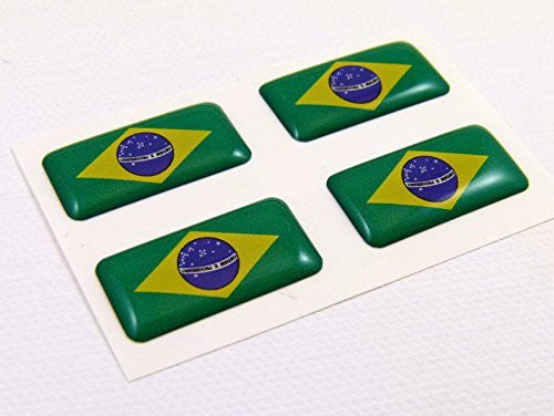 Brazil mini domed Flag decals 4 emblems Car auto bike boat. stickers