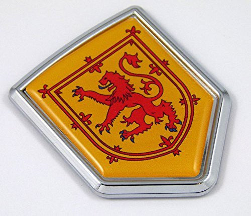 Scotland flag Yellow with red lion Chrome Emblem with domed Car Decal Sticker