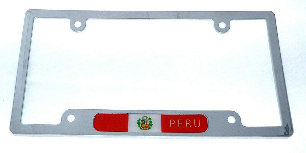 Peru Peruvian Flag car License Plate Frame Chrome Plated Plastic tag Holder CP08