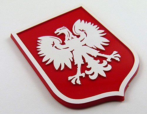 Poland Polska Eagle Red White plastic car emblem decal sticker crest PRW